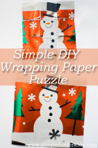 Make a simple DIY wrapping paper puzzle for a quick, easy and fun way to practice fine motor and problem solving skills, and to recycle old wrapping paper!