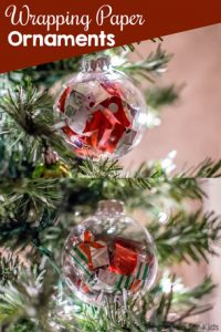 Christmas Crafts for Kids: Make quick and simple wrapping paper ornaments from scraps! Great for everyone from toddlers to preschoolers, elementary students and older kids.
