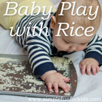 Super simple sensory baby play with a tray full of rice!