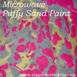 Puffy sand paint is a fun homemade art material for kids that dries with a 3D texture when microwaved!