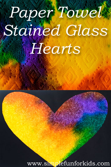 Paper Towel Stained Glass Hearts