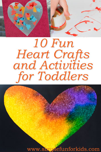 Celebrate Valentine's Day with 10 fun heart crafts and activities for toddlers and up!