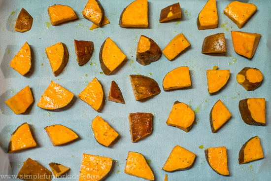 "Cooking with Kids: Kid-Made, Baby-Approved Baked Sweet Potato ""Fries"""