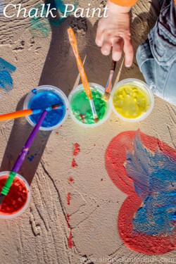 Art for Kids: Homemade vibrant chalk paint that can be applied smoothly with a paintbrush! Requires only two ingredients!