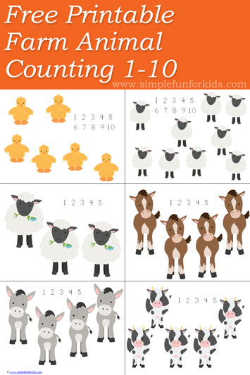 Free Farm Animal Counting 1-10 Printable - so cute!