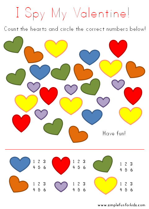 Printable I Spy Valentine's Card