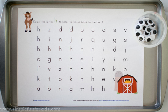 Super cute, free letter h maze printable!