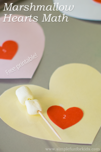 Simple marshmallow hearts math for preschoolers - includes a free printable!