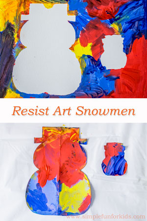 Winter Art for Kids: Make quick and simple resist art snowmen!