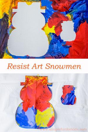 Winter Art for Kids: Make quick and simple resist art snowmen!