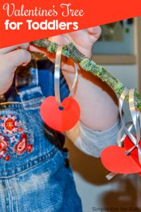 Super simple Valentine's Tree for toddlers - great fine motor practice, and it looks so pretty!