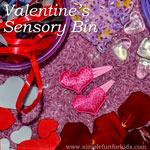 Simple rice-based Valentine's sensory bin with photos of loved ones for toddlers!