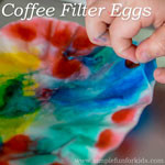 Easter Crafts for Kids: Classic coffee filter eggs that are easy to make and look great in your window!