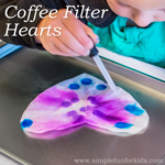 Coffee Filter Hearts: A classic toddler and preschool craft that looks great hanging in a window!