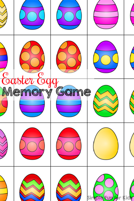 Free printable Easter egg memory game for preschoolers and kindergarteners - play matching or memory games at any skill level!