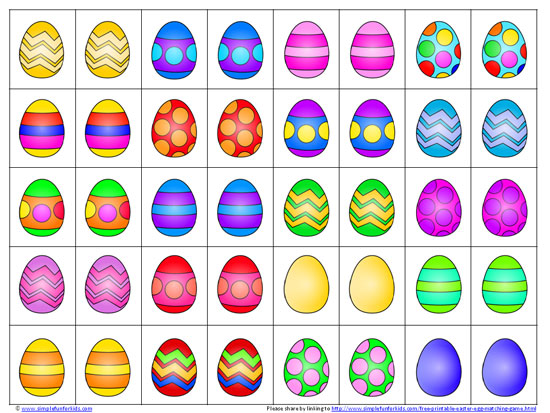 free printable easter egg matching game play matching or memory games at any skill level - Easter Egg Printables