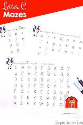 Letter C Maze Printable