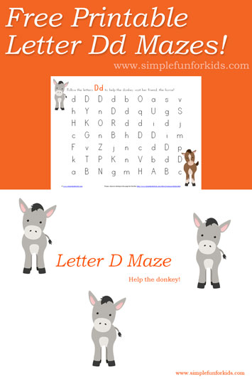 Letter D Maze Printable