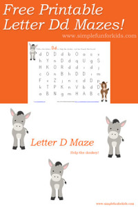 Free alphabet printables for kids: Super cute letter D maze!