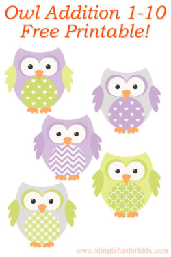 Kindergarten Math: Owl Addition 1-10 - free printable!