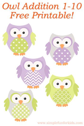 Owl Addition 1-10 Printable