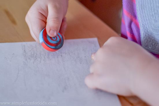 Super simple activity exploring pencils and erasers.