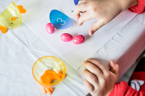 Easter Math for Kids: Preschool Addition Game with Chicks and Eggs {and a free printable!}