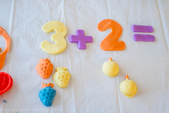 Sensory hands-on math for kids: Addition with Play Dough Food!