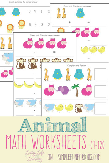 Animal Math Worksheets (1-10)