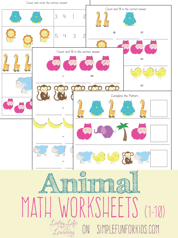 math worksheet : animal math worksheets : 1 10 Math Worksheets