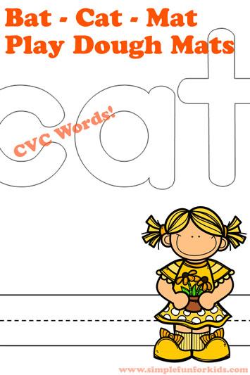 Bat – Cat – Mat CVC Words Play Dough Mats