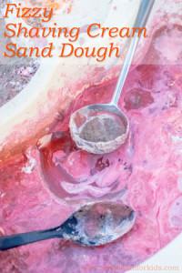Sensory Activities for Kids: Fun with homemade fizzy shaving cream sand dough!