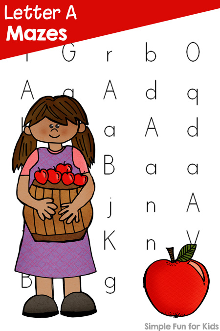 Practice recognition of letter a with these cute printable apple-themed Letter A Mazes! Includes upper case, lower case, and mixed case versions for preschool and kindergarten.