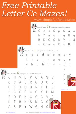 Super cute, free letter c maze printable!