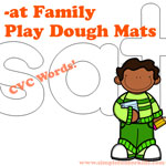 Literacy Printables for Kids: Practice sounding out words in a hands-on way with -at family CVC words play dough mats!