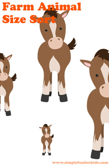 Farm Animal Size Sort Printable