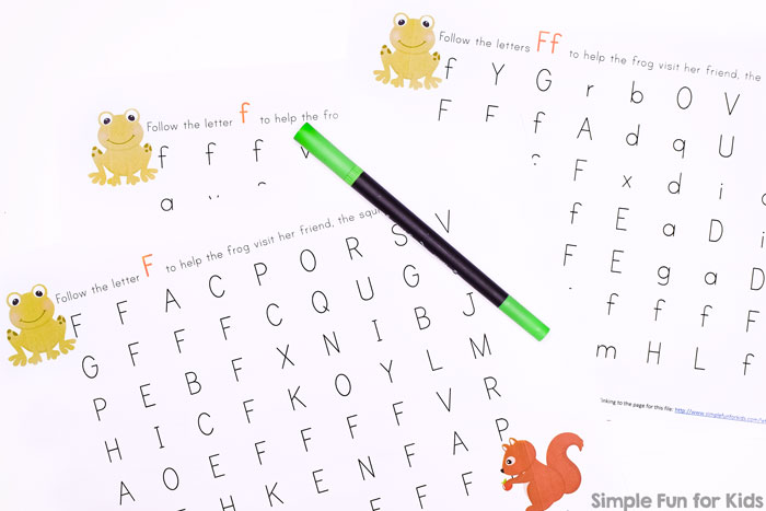 Free Printables for Kids: Learning Letters with Letter F Mazes for preschoolers and kindergarteners!