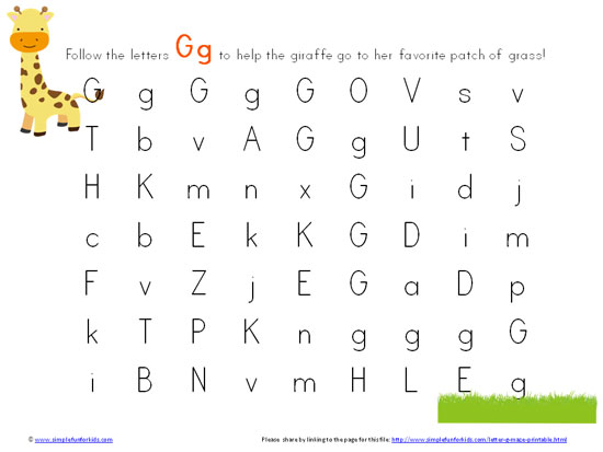 Letter G Maze Printable Simple Fun for Kids – Letter G Worksheets for Preschool