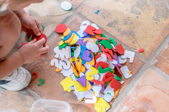 Math Activities for Kids: Who knew that sorting number stickers for another activity could be so much fun and a learning activity in itself?