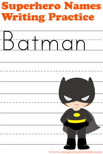 Superhero Names Writing Practice