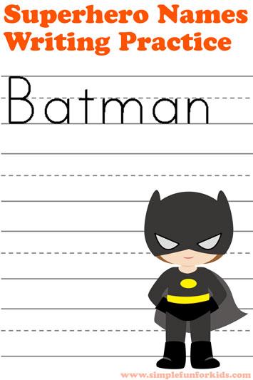 Superhero Names Writing Practice