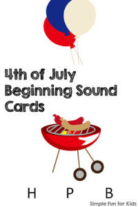 Literacy Printables for Kids: Practice letter sounds with 4th of July beginning sound cards!