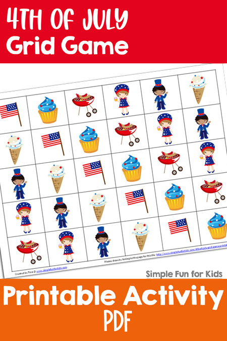 Free Math Printables for Kids: Play a 4th of July Grid Game with your kids and help them practice their math skills at the same time!