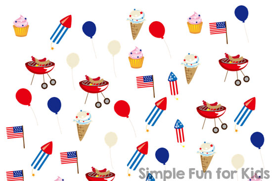 Free Printables for Kids: Sneaky counting and number recognition practice with this 4th of July I Spy game!