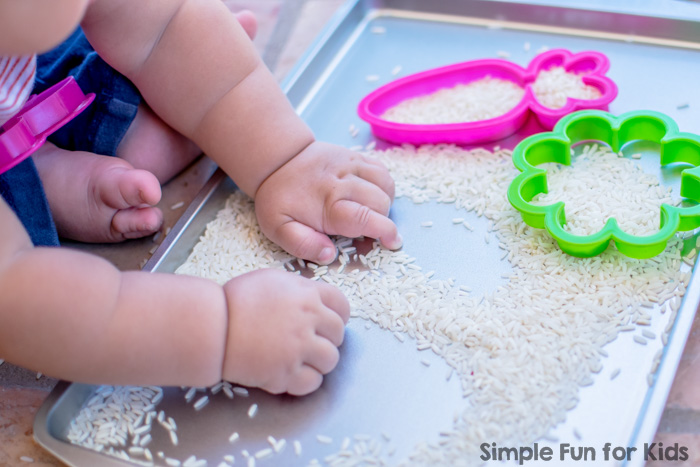Simple Sensory Activities for Kids: Baby Play with Rice and Cookie Cutters