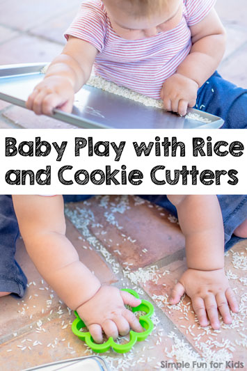 Baby Play with Rice and Cookie Cutters
