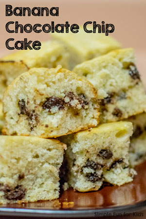 Cooking with Kids: Try this simple Banana Chocolate Chip Cake! Perfect for using up overripe bananas, no mixer required, and it's delicious, too!