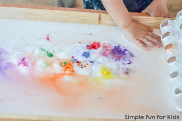 Science for Kids: A twist on baking soda and vinegar experiments with color surprise eruptions!