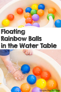 Simple Sensory Activities for Kids: Floating rainbow balls in the water table - colorful splashing fun for babies and toddlers!