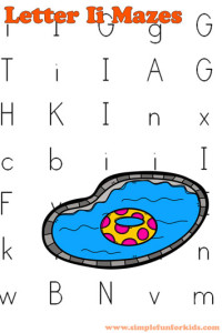 Free Printables for Kids: Learning letters with letter I mazes!